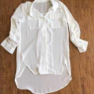 Sexy white button down L/S Sheer shirt.